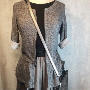 Express gray zipfront cardigan w/ flounce sz S